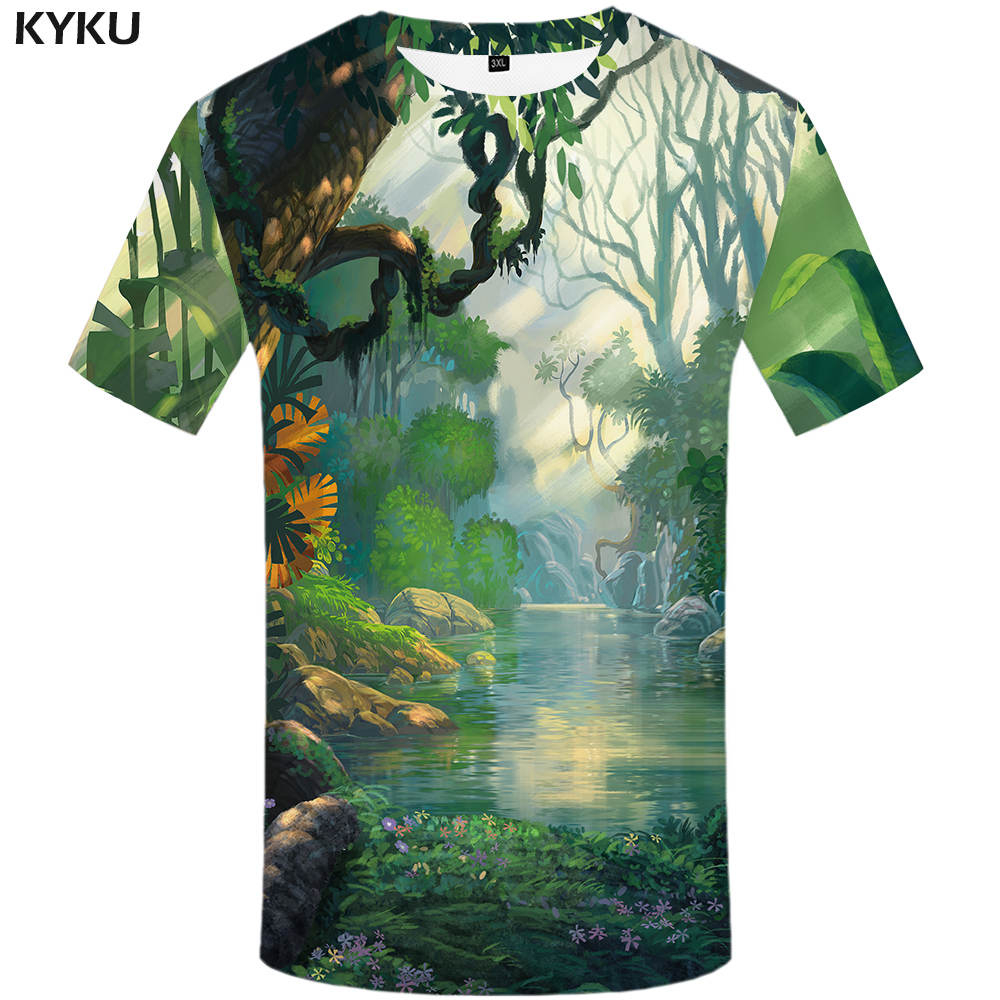KYKU Forest T shirt River Clothes Wonderland Tees Tree Clothing Tops Tshirt Men Funny Sexy Male Print Rock in T Shirts from Men 39 s Clothing