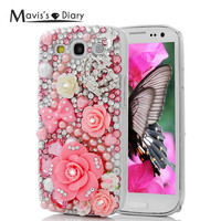 Mavissdiary Case For Samsung Galaxy S3 Handmade Luxury 3D Glitter Crystal Diamond Rhinestone Case Back Cover