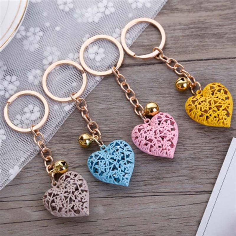 New Design 1 PC Random Hollow Romantic Heart Bell Jewelry Keychain Women Key Holder Chain Bag Pendant Charm