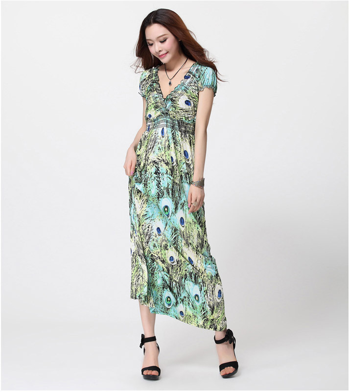 Buy Feather Pattern Women 39 S Long Dresses Vintage Style Party Dress 2014 Fashion
