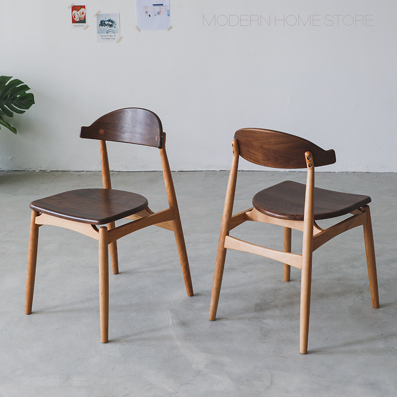 Modern Classic Design fashion loft solid Dark Walnut Cherry Wood double Color Dining Wooden Side leisure popular Chair stool 1PC