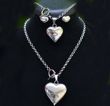3PCS High quality girl women stainless steel love Heart Necklace Earrings bracelet jewelry Sets Gifts