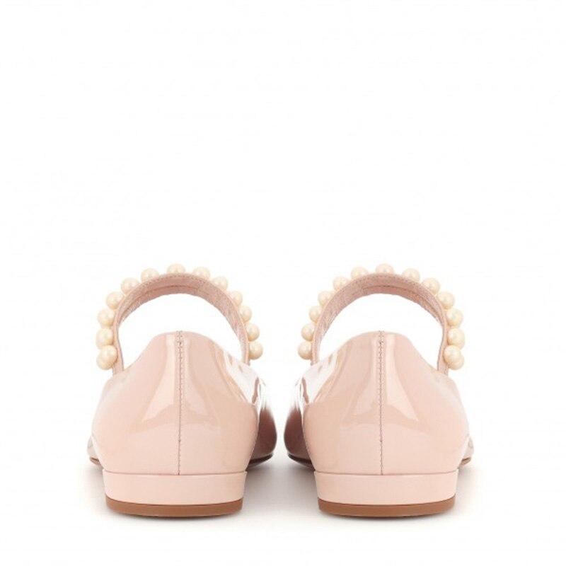 Bout 13 Cuir La Taille 2018 Automne Avec Blush Appartements Printemps Brevet Femmes Jane 12 Mary Plus Dames Chaussures Pointu 11 Fsj01 En Perle vN0ym8wOn