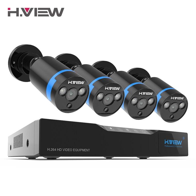 H. view 16ch sistema de vigilância 4 1080 p ao ar livre câmera de segurança 16ch cctv dvr kit de vigilância por vídeo iphone android vista remota