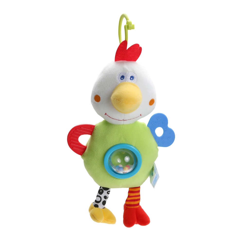 Cute Plush Chicken Handbell Doll Toy with Teether Baby Kids Soft Grasping Crib Stroller Hanging Toy Educational Rattle Toy