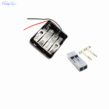 100Pcs 4xAAA Battery Case Holder Socket Wire Junction Boxes With 15cm Wires, Dupont 2.54mm 2P Header and Crimps