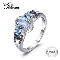 JewelryPalace 1 6ct Natural 3 Stones Sky Blue Topaz Ring 100 Rear 925 Sterling Silver Fine