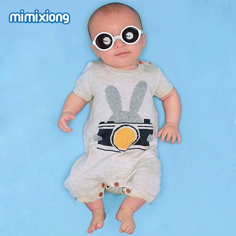 Baby Animals Romper Funny Rabbit Knitted Toddler One Piece Overalls Infant Boys Jumpsuit Outfit Newborn Baby Girl Summer Clothes newborn infant baby boy girl clothes long sleeve printing romper toddler baby cotton summer one piece outfits