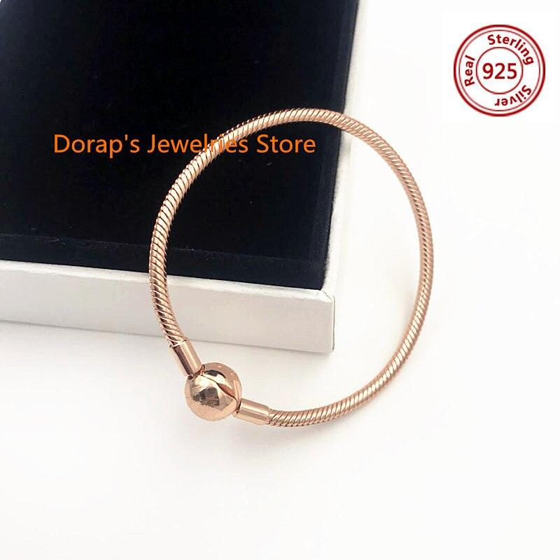 NEW! Perfect Charm Logo Engraved Silver S925 Classical bangle rose pandoras bracelets women jewelry making,1pz недорго, оригинальная цена