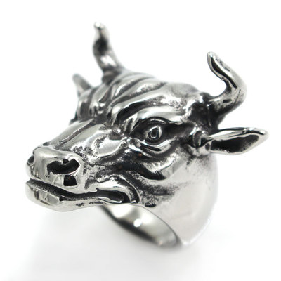 European And American Retro Men Titanium Steel Ring Chaoyang Steel Ring Silver Large Cattle Ring