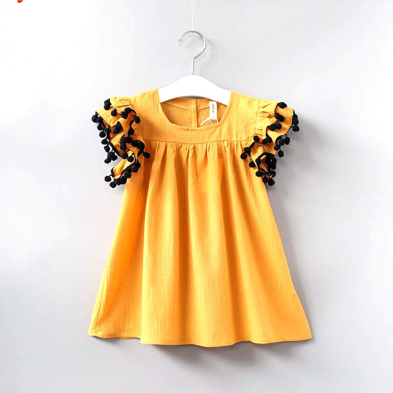 Babyinstar Girls Summer Dress Fashion Ruffle Sleeve Dresses Cotton Kids Clothes 2018 Summer Dresses of Toddle Girls