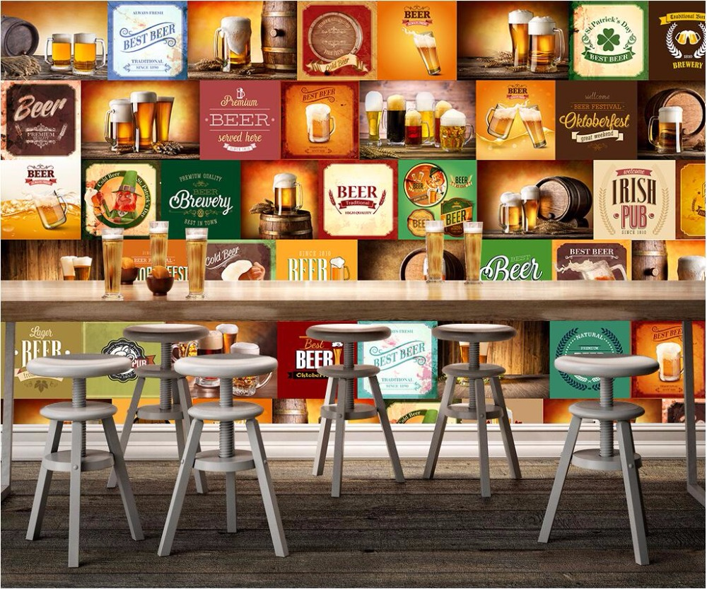 Benutzerdefinierte foto mural 3d wallpaper bier marke restaurant bar ...
