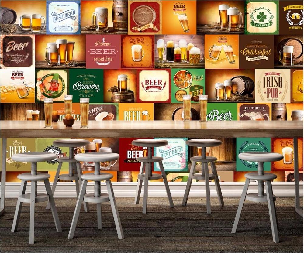 Custom photo mural 3d wallpaper beer trademark restaurant Decoracion de bares vintage