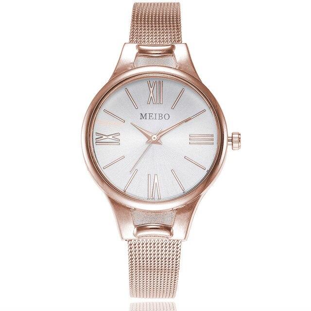 MEIBO Women Watches Casual Quartz Stainless Steel Newv Strap Watch Analog Wrist