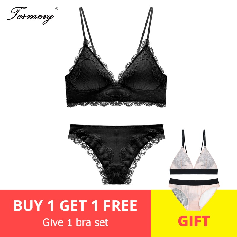 TERMEZY High Quality Cotton Underwear   Set   Sexy Lace Lingerie Romantic Temptation   Bra     Set   Women Stripes   Bra   and Panties   Set