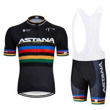 2020 preto astana roupas de ciclismo bicicleta jérsei secagem rápida dos homens roupas verão equipe ciclismo jérsei 9dgel bicicleta shorts conjunto 21