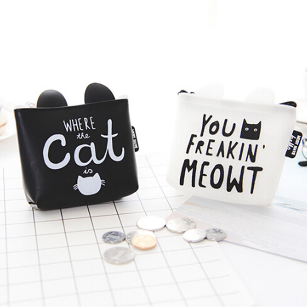 Women Girls Cute Cat Printed Coin Purse Fashion Snacks Coin Purses Wallet Bag Silicone Zipper Small Change Pouch Key Holder Bags new cat purse pu leather zipper wallet women coins purses cute carrot watermelon hand holding coin bag with key ring pouch