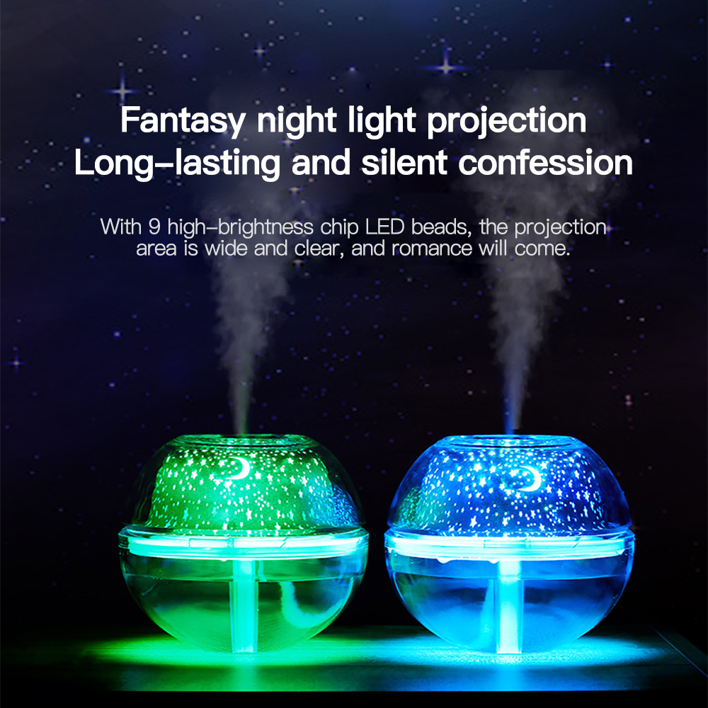 Small Air Conditioning Appliances Delicious Usb Mist Humidifier Star/moon Projection Led Night Lamp Light Aroma Diffuser Air Humidifier For Home Office Room Desktop 500ml