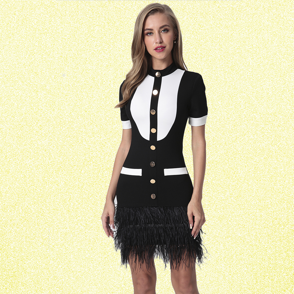 Women Dress 2018 New Autumn Sexy Club O Neck Short Sleeve Fashion Patchwork Back Zipper Black