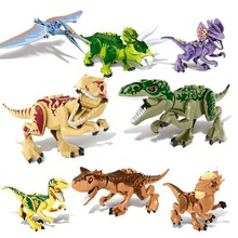 8pcs/set Dinosaur Jurassic World Park Dino Figures Building Tyrannosaurus Assemble Blocks Toy Compatible With Legoings Dinosaurs