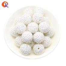 R13 Cuentas de diamantes de imitación para hacer collares, abalorios gruesos de resina blanca, de 20MM, 100 unidades/lote, CDWB 516002