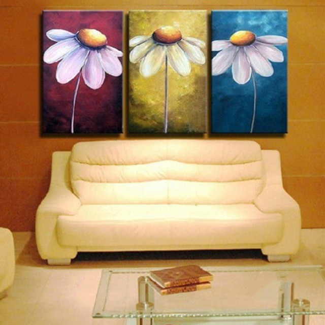 Modern Home Decor Wall Art Flower Picture Hand Painted Abstract Big ...