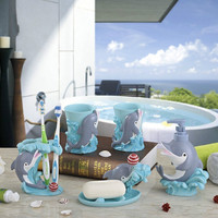 Cartoon Dolphin Bathroom Mouth Cup Set Child Bathroom Toothbrush Holder Creative Couple Toilet Products Five piece Kit LO861123