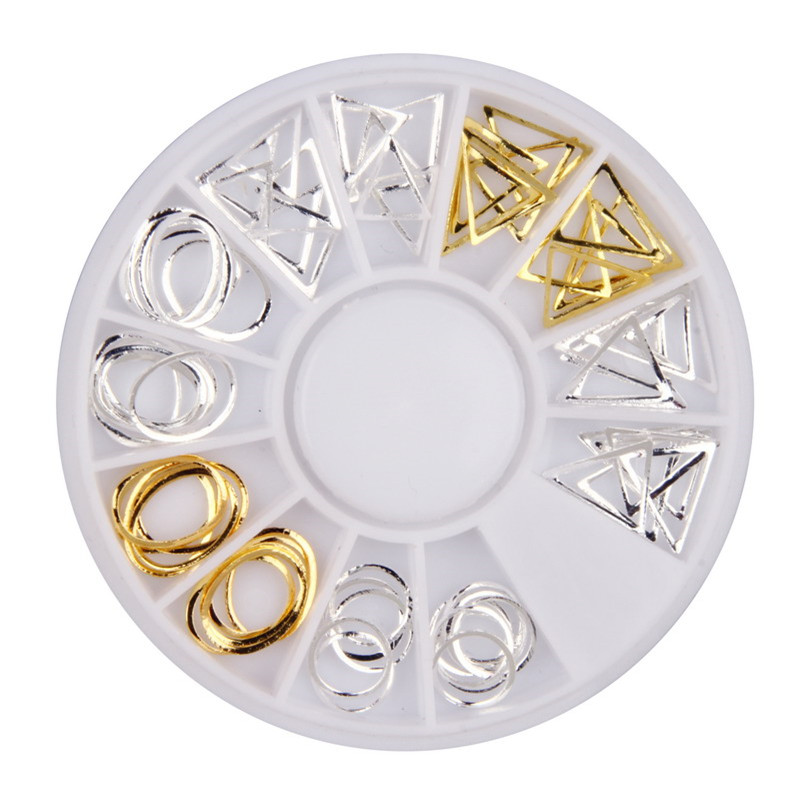 Gold Silver Alloy Nail Studs Geometric 3D Nail Charms Wheel Beauty Salon Nail Art Decorations Women WY616