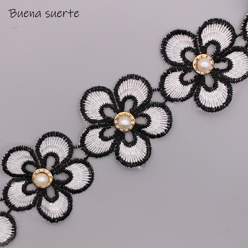 """XR96 Black Flower Floral Beaded Applique 5/""""  Sewing or Crafts Motif @ Glory/'s :"""
