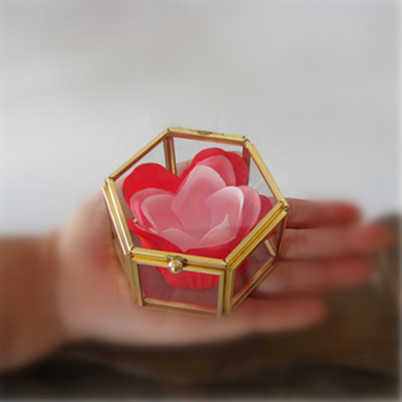 Nordic мини привести меди невесты свадебные держит кольцо Box геометрических ясно Стекло шкатулка организовать держатель