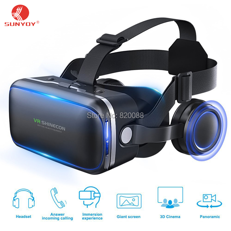 Newest!!3D VR Headset Virtual Reality Glasses SHINECON Movie VR Game Glasses With Built-in Stereo Headphones 4.7-6 Inch