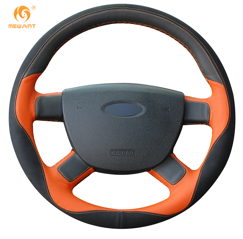 MEWANT Black Orange Leather Black Suede Car Steering Wheel Cover for Ford Kuga 2008-2011 Focus 2 2005-2011 C-MAX 2007-2010 mewant black suede car steering wheel cover for mercedes benz c180 c200 c350 c300 cls 280 300 350 500 glk 300 2008 2010
