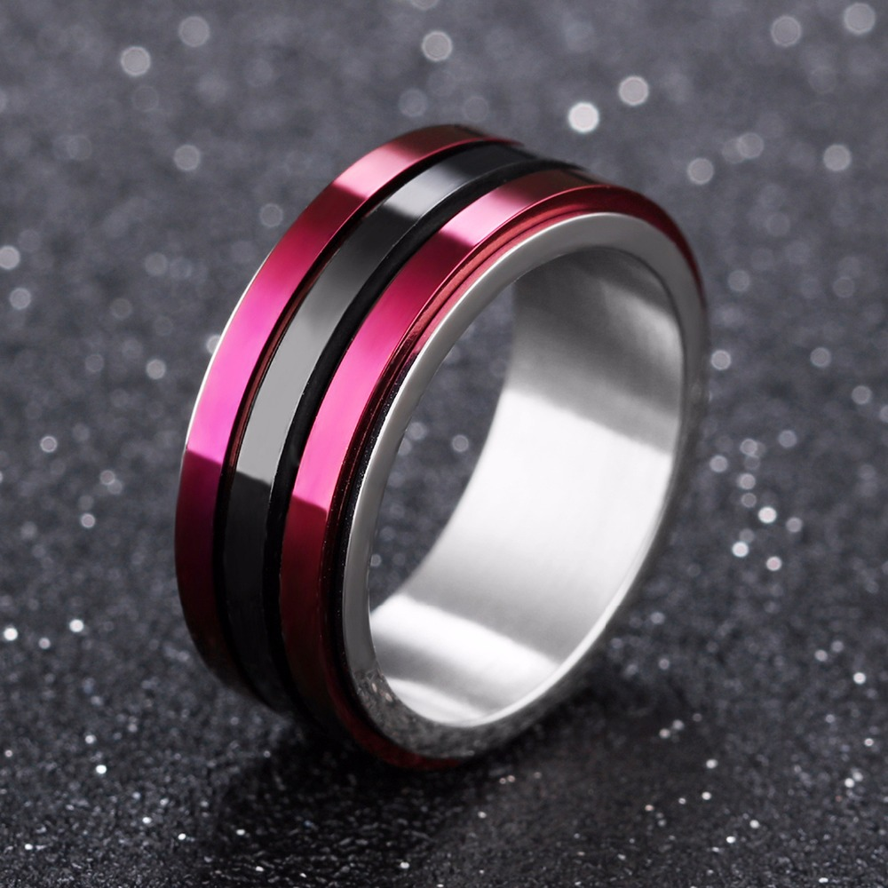 2018 New Classic Mens Ring Titanium Steel Jewelry Fashion Wedding Party Ring Men Multicolor Color Rings For Man