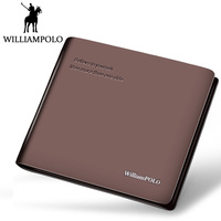 WILLIAMPOLO Men Bifold Wallet Genuine Leather Short Purse Belief Motto Text Design Slim Wallet Small Pouch For Male 2018 New