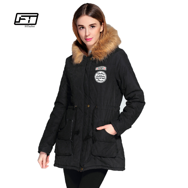 2016 Winter medium long coats fashion women printing long sleeve hooded cotton padded jacket female slim thickening outerwear