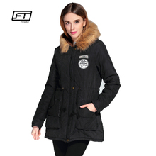 2016 Winter medium long coats fashion women slim long sleeve hooded cotton padded jacket female slim thickening outerwear