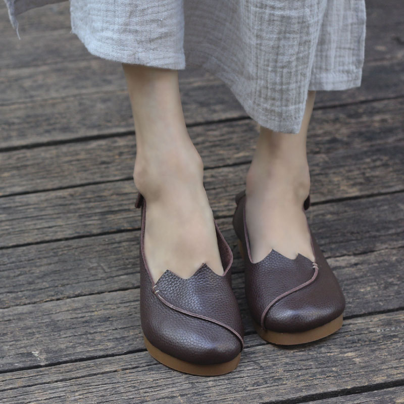 Shoes Woman Flat Round Toe Slip on Ballet Flats 100% Authentic Leather Ladies Flat Shoes Anti-slip Women Moccasins (968-5)