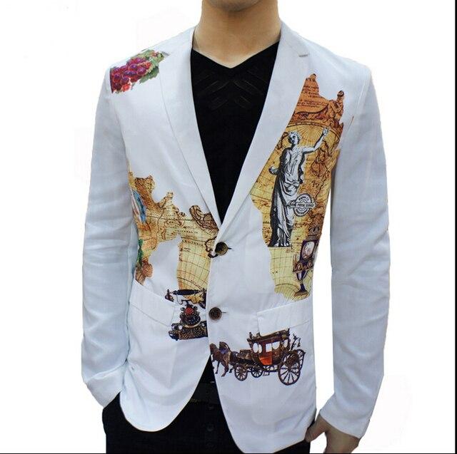 2015 новый бренд тонкий пиджаки корейской с длинными рукавами костюм печать платье свободного покроя мужская этап певица подходит костюмы ночные клубы одежда