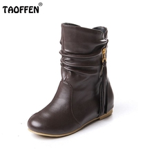 women flat half short boots winter snow boot fashion quality footwear warm botas feminina shoes P1880 size 33-43