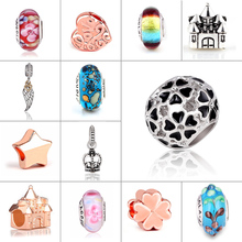 ФОТО mix beads glass and alloy rose gold bead round shape flower diy big hole beads spacer murano bead charm fit for pandora bracelet