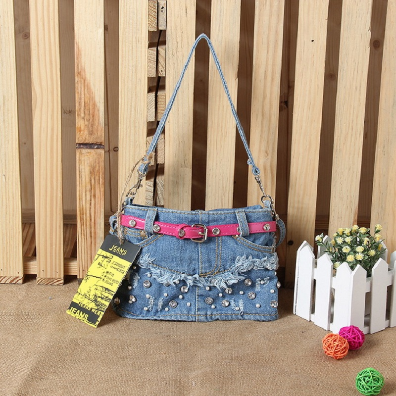 Vintage Fashion Cute Diamonds Belt Denim Jeans Shoulder Crossbody Girls Handbags Bag Women Messenger Bags Purse bolsa feminina цена