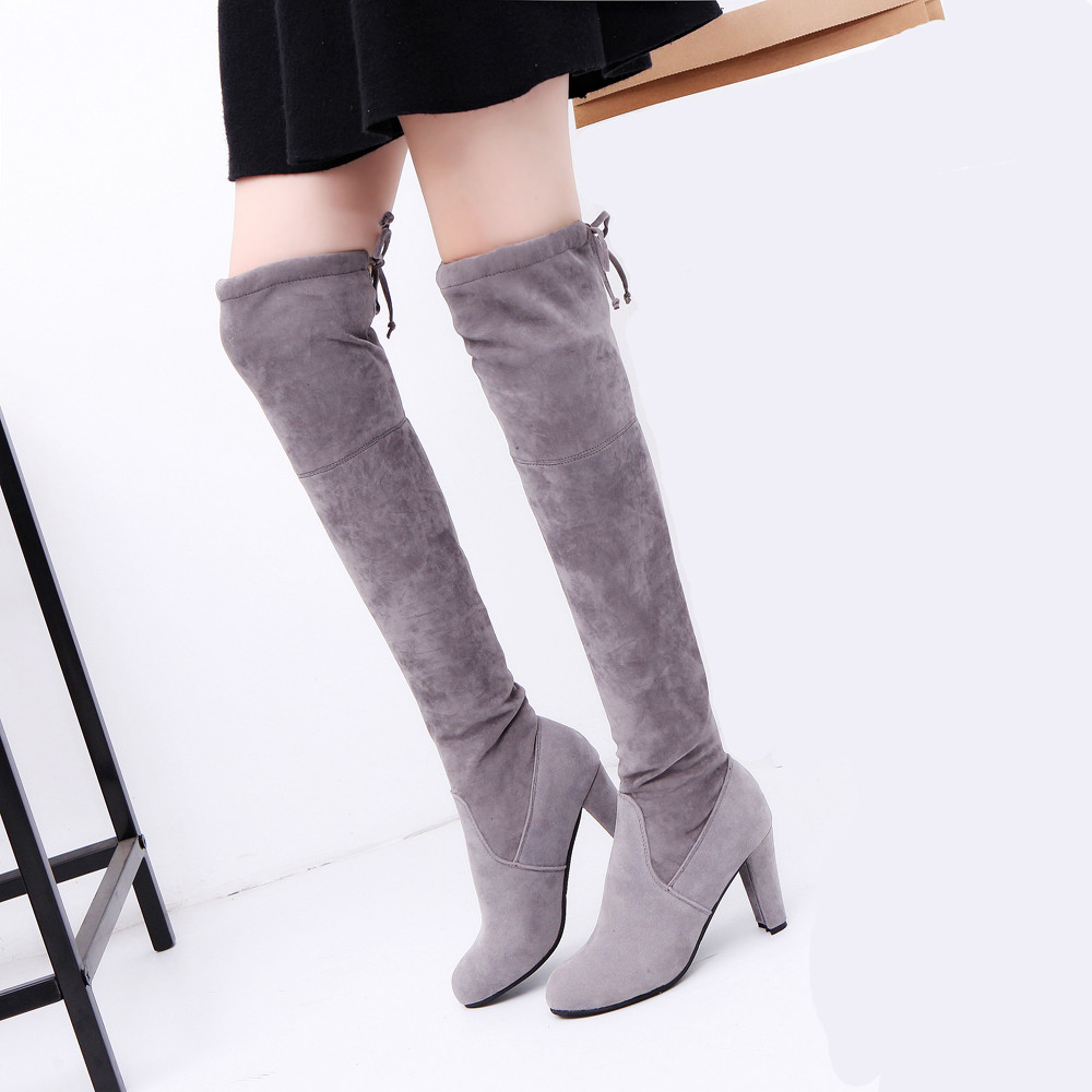 Faux Xiniu Zapatos Otoño Botas Tacones Estiramiento gray La Rodilla Natural Invierno 2017 Mujeres E Altos Adelgazan Moda Black 100 Sobre 8aqBT