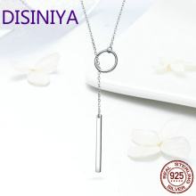 DISINIYA  925 Sterling Silver 2019 New Round Pendant Necklace female line geometry jewelry fashion necklace SCN304