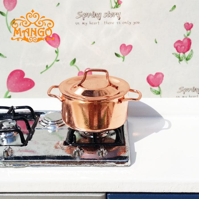 1:12 Dollhouse Miniature Toy kitchen cookware a painted copper metal pot  free shipping