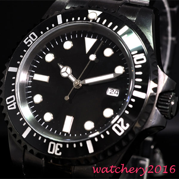 Luxury Brand parnis Mechanical Watches 42mm black sterile dial Rotating Bezel Luxury automatic men's watch цена и фото
