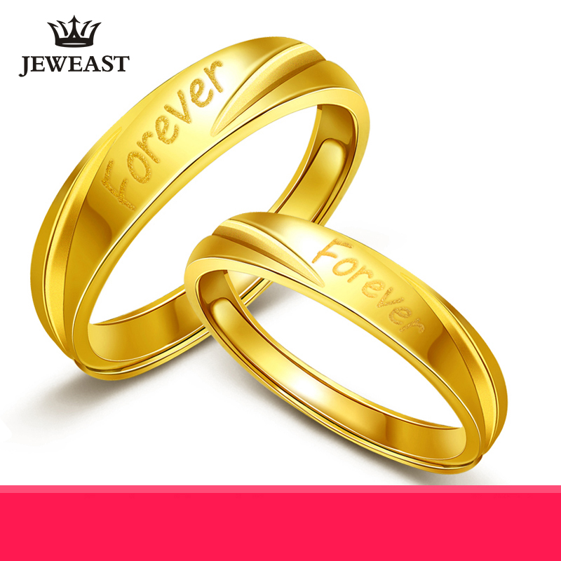 24K Pure Gold Ring Real AU 999 Solid Gold Rings Nice Forever Letter Upscale Trendy Classic Party Fine Jewelry Hot Sell New 2018 new pure au750 rose gold love ring lucky cute letter ring 1 13 1 23g hot sale