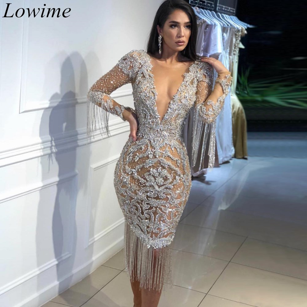 Dubai Special Design   Prom     Dresses   Mermaid Long Sleeves Deep V-Neck Illusion Sexy Robe De Soiree 2019 Evening Party Gowns Custom