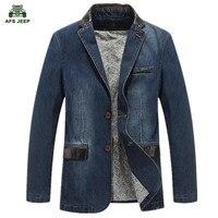 New Men Blazer Jacket Casual Denim Blazer Men Suit Size Clothing Denim Suit M 4XL