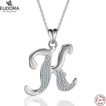 Eudora 100% Real 925 Sterling Silver Fashion Design Crystal Letter K Pendant Necklaces Women Charm Jewelry Christmas Gift CYD77K