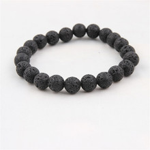 цена на Black Lava Natural Stone Beads Bracelets For Women Vintage Design Volcanic Rock Tiger Eye Bead Strand Bracelet Men Jewelry Gift